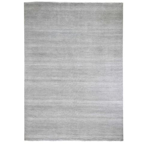 """Shahbanu Rugs Gray Wool and Silk Hand Knotted Grass Design Oriental Rug (9'0"""" x 12'2"""") - 9'0"""" x 12'2"""""""