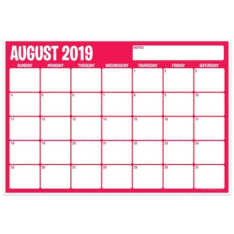 """Six Color Assorted Academic Calendar, August-July, 13"""" x 19"""" - One Size"""