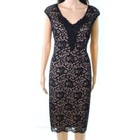 Connected Apparel Nude Womens Lace Sheath Dress