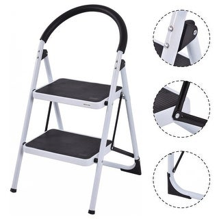 Costway 2 Step Ladder Folding Stool Heavy Duty 330Lbs Capacity Industrial Lightweight