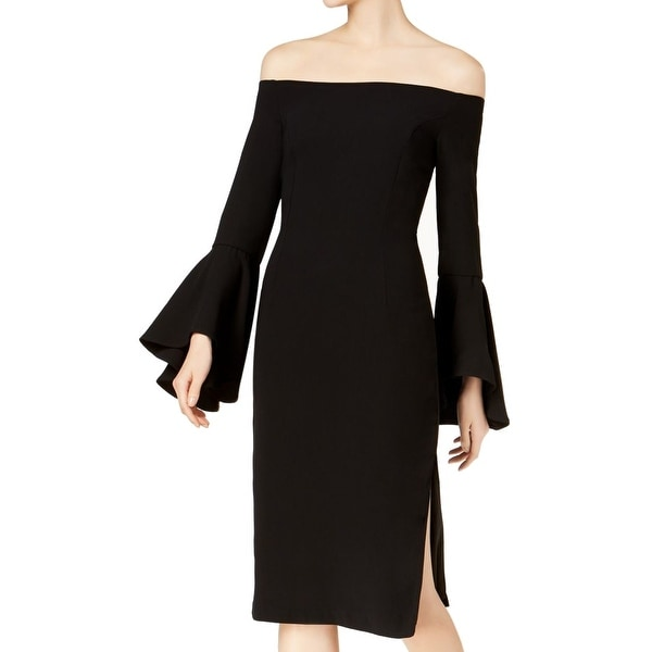 3d15f1e7 Shop Bardot Black Women's Size 4 Off Shoulder Bell Sleeve Sheath Dress -  Free Shipping Today - Overstock - 28070993