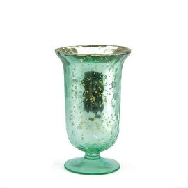 """5.5"""" Decorative Sky Blue and Silver Mercury Glass Votive Candle Holder"""