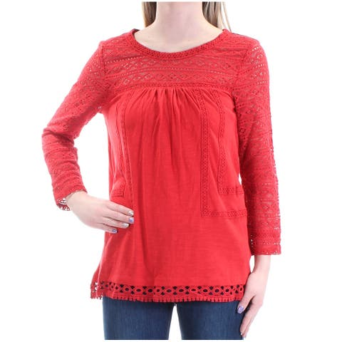 VINTAGE AMERICA BLUES Womens Red 3/4 Sleeve Jewel Neck Top Size XS