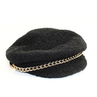 Scala Pronto NEW Black Textured Chained Womens One Size Newsboy/Cabbie Cap 866