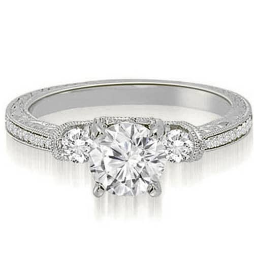 1.00 cttw. 14K White Gold Milgrain Three-Stone Round Diamond Engagement Ring