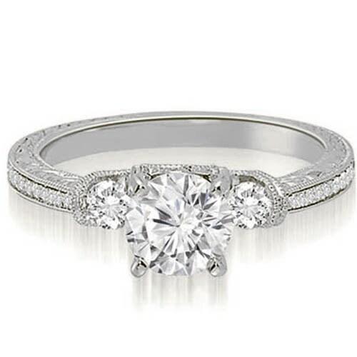 1.25 cttw. 14K White Gold Milgrain Three-Stone Round Diamond Engagement Ring