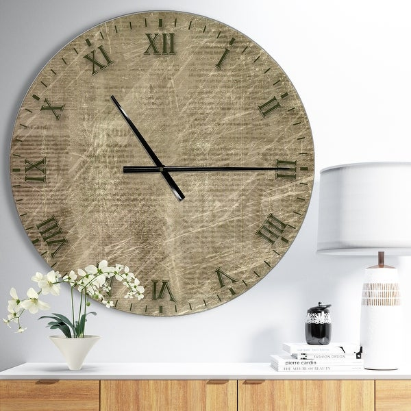 Designart 'Antique Old Paper Style' Oversized Farmhouse Wall CLock. Opens flyout.