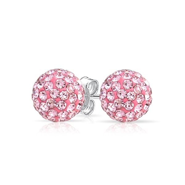 Bling Jewelry Imitation Pink Topaz Crystal Stud Earrings Shamballa Inspired 925 Sterling Silver 8mm