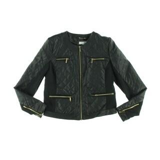 Calvin Klein Womens Bomber Jacket Faux Leather Argyle - m