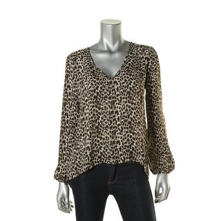 Aqua Womens Leopard Print Cutout-Back Blouse
