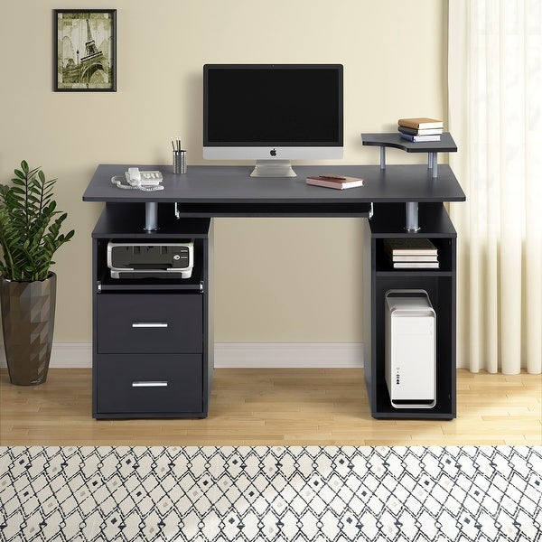 Shop Computer Desk With Pull-Out Keyboard Tray And Drawers