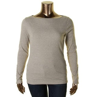 Lauren Ralph Lauren Womens Knit Top Ribbed Knit Boat Neck