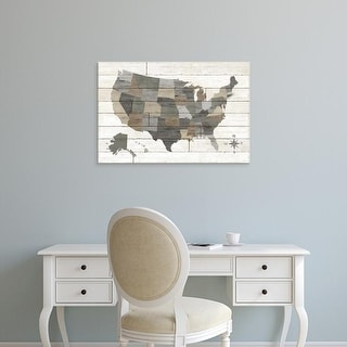 Easy Art Prints Sue Schlabach's 'Barnboard Map Neutral' Premium Canvas Art