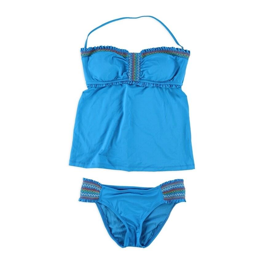 Lucky Brand Womens Fiesta Hipster 2 Piece Tankini blue Small