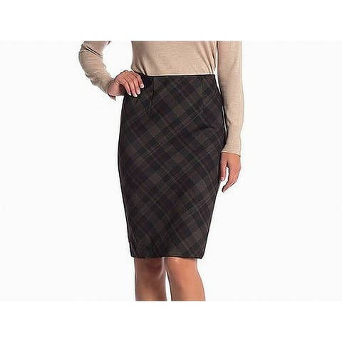 Amanda + Chelsea Womens Skirt Brown Large PL Petite Straight Pencil