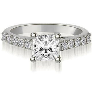 1.00 CT.TW Princess And Round Diamond Engagement Ring in 14KT Gold - White H-I