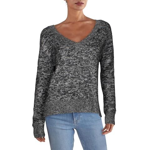 Naadam Womens Choker Sweater Dressy V-Neck - Gray
