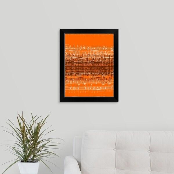 """""""Musical notes over orange background"""" Black Framed Print"""