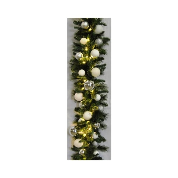 Christmas at Winterland WL-GARSQ-09-ICE-LWW 9 Foot Pre-Lit Warm White LED Sequoia Garland Decorated with Ice Ornaments Indoor /