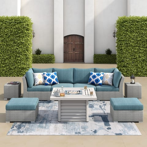 Corvus 9-piece Grey Wicker Patio Sectional Conversation Set with Fire Pit