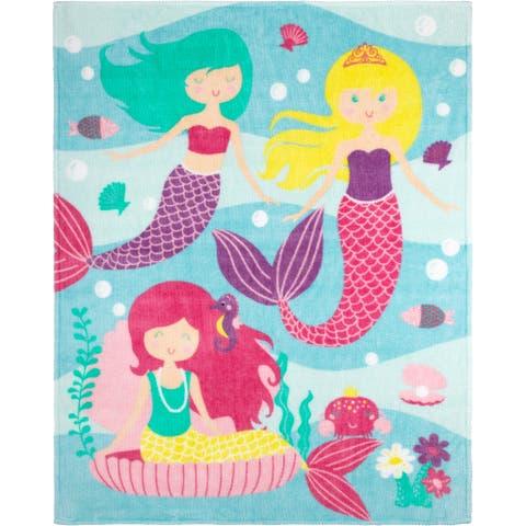 Throw Flannel Printed Mermaid