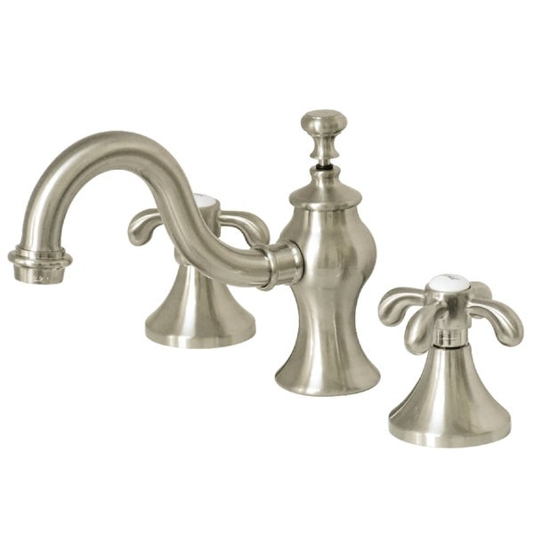 Kingston Brass GKS716.TX French Country 1.2 GPM Widespread Bathroom Faucet with Pop-Up Drain Assembly and Metal Cross Handles