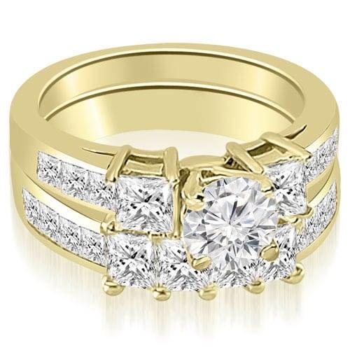 2.85 cttw. 14K Yellow Gold Channel Princess and Round Cut Diamond Bridal Set