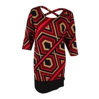 NY Collection Women's Plus Size Printed Shift Dress (3X, Red Hexline) - red hexline - 3x