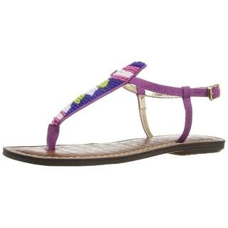 Sam Edelman Womens Gigi Beaded Split Toe Casual T-Strap Sandals