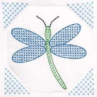 "Dragonfly - Stamped White Quilt Blocks 9""X9"" 12/Pkg"