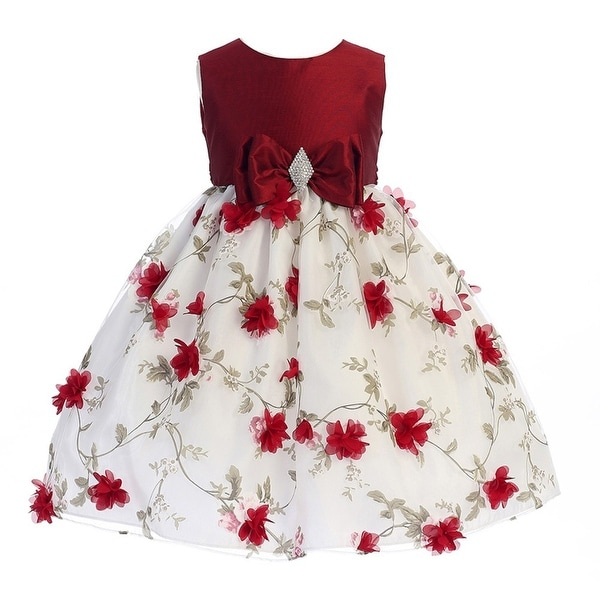 b6679befa29 Shop Crayon Kids Little Girls Red White Flower Brooch Bow Christmas Dress -  Free Shipping Today - Overstock - 18167758