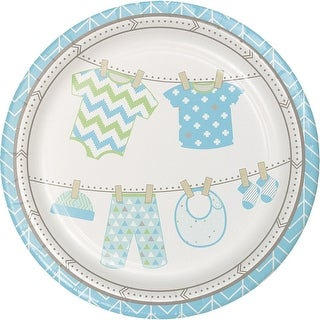 """Club Pack of 96 Sky Blue and Ivory Bundle of Joy Baby Boy Disposable Dinner Plates 8.75"""""""
