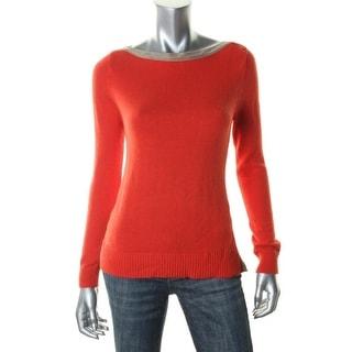 Ralph Lauren Womens Petites Pullover Sweater Wool Blend Contrast Trim - pm