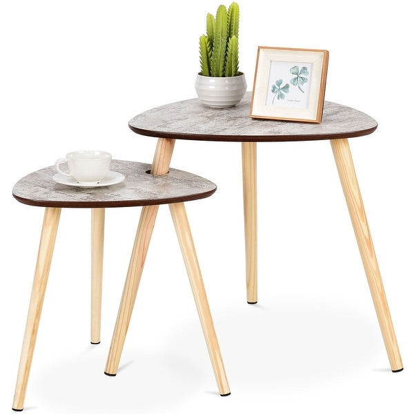 Gymax 2 Pcs Nesting Coffee Tables Sofa Side End Accent Table Wooden Leg  Living Room