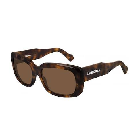 Balenciaga Extreme Logo Rectangle Sunglasses Havana Brown - One Size