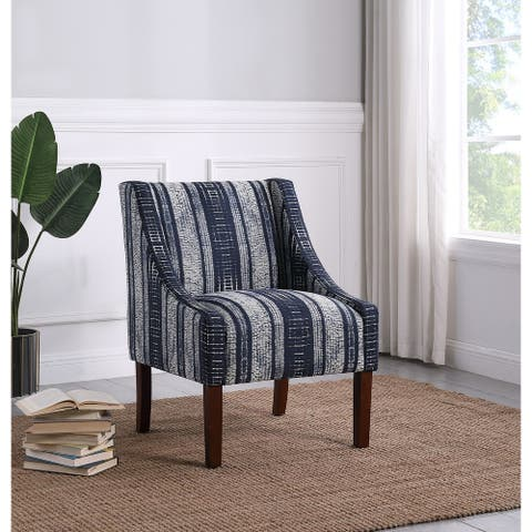 HomePop Modern Swoop Arm Accent Chair- Indigo Stripes
