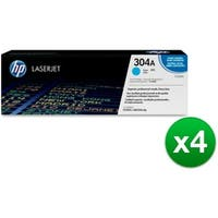 HP 304A Cyan Original LaserJet Toner Cartridge (CC531AG)(4-Pack)