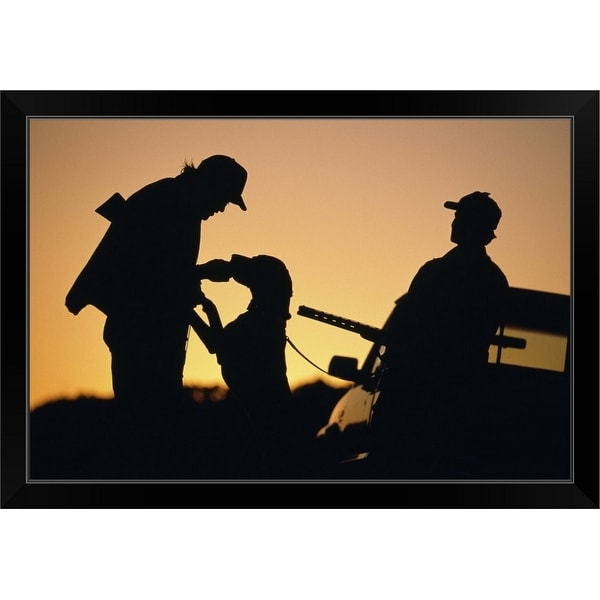 """""""Silhouette of hunters with dog at sunset"""" Black Framed Print"""