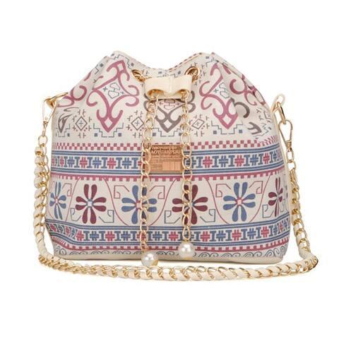 Women Floral Imitation Pearl Chain Shoulder Crossbody Bucket Handbag - Multicolor