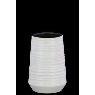 Round Ceramic Vase With Combed Design, Small, White