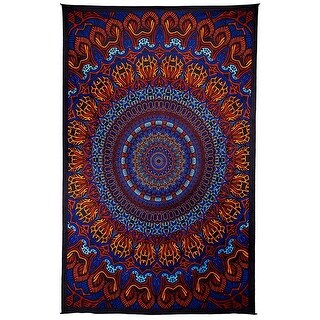 Handmade 100% Cotton 3D Harmony Origin of Life Mandala Tapestry Tablecloth Beach Sheet Beach Throw Bed Sheet Dorm Decor 60x90