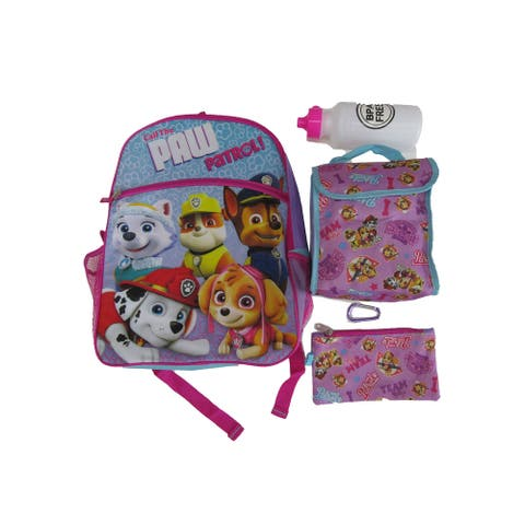 Nickelodeon Pink Paw Patrol Water Bottle 5 Pieces Backpack Little Girls