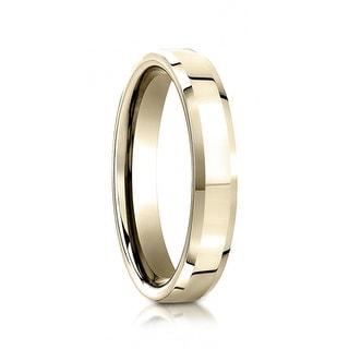 14k Yellow Gold Flat Polished Beveled Edges Wedding Ring By Benchmark 6mm