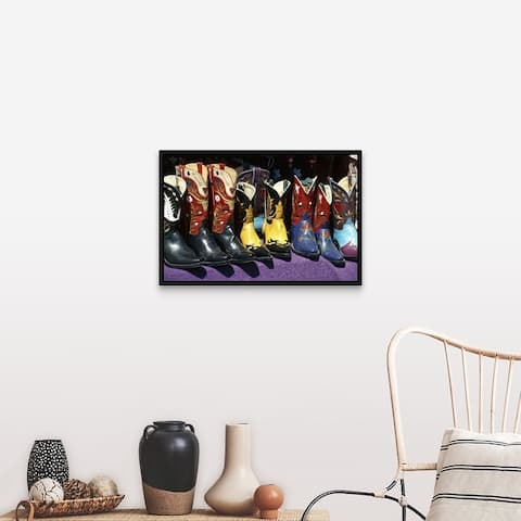 """""""Display of Colorful Cowboy Boots"""" Black Float Frame Canvas Art"""