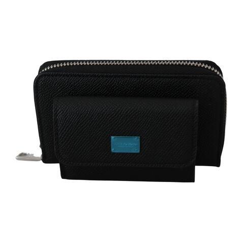 Dolce & Gabbana Black Mens Coin Purse Zipper Holder 100% Leather Men's Wallet - one-size
