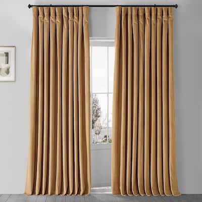 Exclusive Fabrics Amber Gold Velvet Blkt Extra Wide Curtain Panel