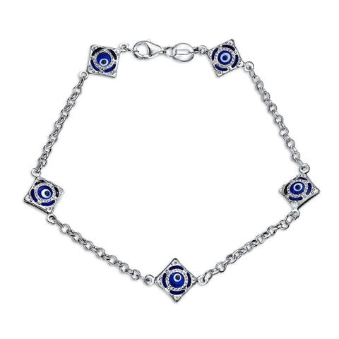 Turkish Navy Blue Evil Eye Charm Link Bracelet For Women Protection 925 Sterling Silver 7.5 Inch