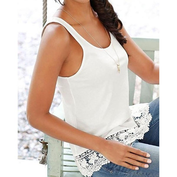41962a262c Shop sleeveless elegant lace hem tank top-Ivory-Large - Free Shipping On  Orders Over $45 - Overstock - 23112377