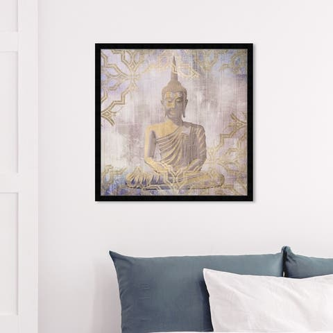 Oliver Gal 'Buddha In Peace' Spiritual and Religious Framed Wall Art Prints Religion - Gold, Purple