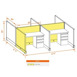 Small Cubicles 39H 4pack Cluster Powered (4x4 - Walnut Desk Silver Paint - Assembled)